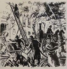 Dessin original de Pierre Rousseau pour Barnum, récit de cirque, incendie, 1954
