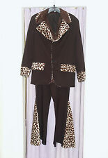 Mens 70s pimp Black Leopard Jacket Black Shirt  Fancy Dress Costume Large (298)