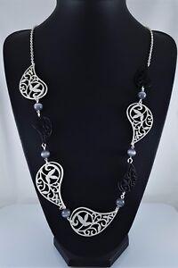 "Matt Silver Link Chain Black Silver Fligree Leaf Design Long Necklace 37.5 """