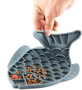 Fish Shaped Slow Feeder Bowl for Cat Dog, Pet Food Puzzle Feeder Lick Mat, Feedi