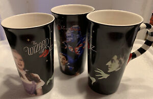 WIZARD OF OZ vintage Tall coffee mugs cups LOT 3 Dorothy Wicked Witch Monkeys