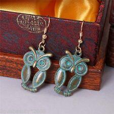 1 Pair New Women Retro Alloy Owl Manual Pendant Earrings Eardrop Earbob