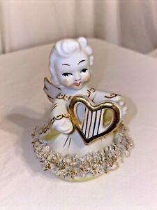 "vintage Blume Japan Angel with heart harp spaghetti trim gold trim 3.5"""