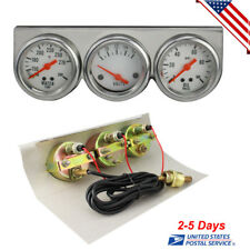 Auto Truck Gauges 50mm Chrome Oil Pressure Water Volt Triple 3 Gauge Set Kit US