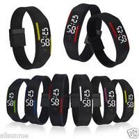 Mens Womens Unisex Rubber LED Watch Date Sports Bracelet Digital Wrist Watch