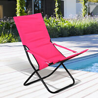Outsunny Folding Beach Chair Garden Lounge Seat Fishing Chair w/Armrest Pink