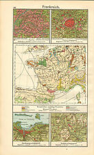 1908 MAP ~ FRANCE ~ INDUSTRIES RIVERS TEMPERATURE ~ ENVIRONS PARIS ~ CHERBOURG