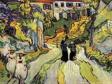 Village Street And Steps In Auvers With Figures 1890 A4 Print
