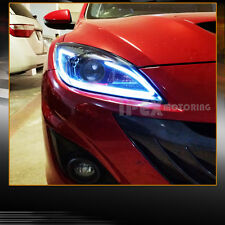 BRIGHTEST ( LED DRL Bar) 2010-2013 Mazda 3 Mazda3 Projector JDM Black Headlights