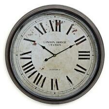 Wanduhr XXL 60cm Metall London - Vintage Nostalgie Großuhr Bahnhof Uhr römisch