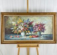 T. DAVIS Large Vintage (1970s) Impressionist Floral Still Life Oil on Canvas