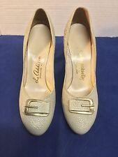 "Vintage Mademoiselle Beige Buckle Toe Pumps Shoes 3"" Heels Sz 7Aa"