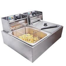 12L Electric Countertop Deep Fryer Dual Tank Commercial Restaurant Basket 5000W