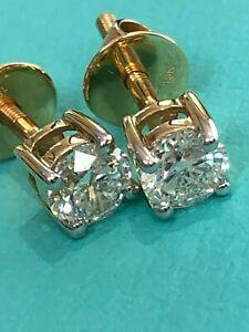 18 Carat Yellow Gold Diamond Stud Earrings 0.50 Carats of Diamonds