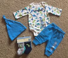 Baby Boy 0-3 Month Baby Gap Dinosaur Bodysuit Pants Hat & 4 Pk Socks Set