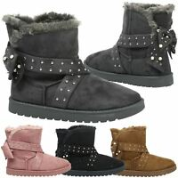 Amber Womens Flat Low Heel Pull On Thick Fur Lined Ankle Boots Ladies Shoes Size