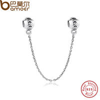 Luxury Solid S925 Sterling Silver Love Safety Charms Chain Fitting P Bracelets