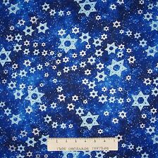 Hanukkah Fabric - Metallic Star of David on Dark Blue - Benartex Kanvas YARD