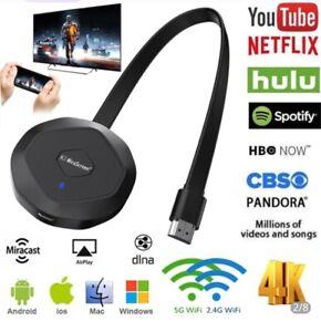 4K Mirror Screen Anycast Miracast AirPlay TV Stick 2.4G 5G Duel Wifi Wireless Di