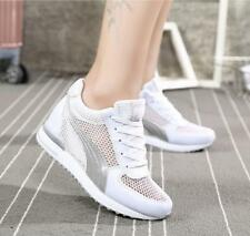 Womens Trainers Mesh Hollow Hidden Heels Sneaker Breathable Shoes Lace Up Sports