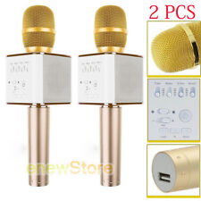 2Pcs Handheld Q9 Wireless Bluetooth Karaoke Microphone Usb Speaker Home Ktv Gold
