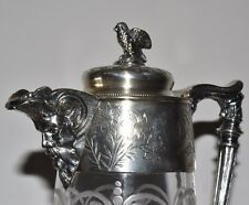 Antique Grotesque Silverplate Floral & Bird Etched Glass Pitcher Claret Jug