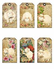 6 Vintage Lamb Hang Tags - Scrapbooking, Paper Crafts, Jewelry Holders (11)