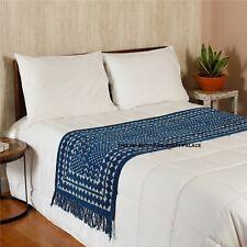 Indigo Bed Runner Throw Indian Cotton Floor Rug Mat Abstract Design Runner Large