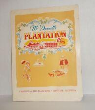 1952 MCDONNELL'S PLANTATION Menu Southgate, California History Los Angeles