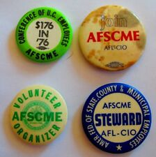 4 Vintage Union Civil Protest Pin Pinback AFSCME Conference of  U.S.Employees 76