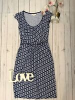 Boden Size 6 R bird patterned blue stretchy summer holiday dress VGC casual