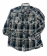 BKE Buckle Mens Pearl Snap Athletic Fit L Black White Plaid Button Front Shirt