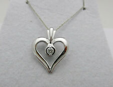 0.10 ct Pendant with Chain Necklace Beautiful 14k White Gold Heart Shape Diamond