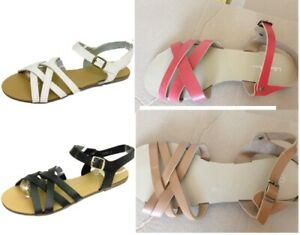 Ladies Womens Flat Gladiator Ankle Strap Flip Flop Summer Sandals Shoes Open Toe