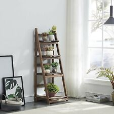 Strong 4 Tier Ladder Shelf Leaning Bookcase Plant Stand Display Shelf Rack Brown