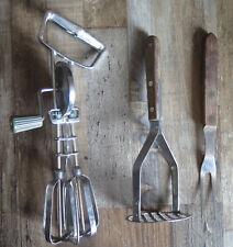 Lot Stainless Steel utensils Retro manual egg beater mixer wood handle masher MR