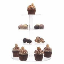 Clear Cake Stand Round 4 tier Stacked Wedding Cupcake Dessert Tower Display