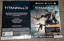 Titanfall 2 Pre Sale Video Game Inserts NEW PS4 XBox One 2
