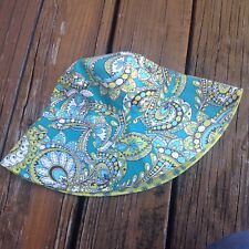 Vera Bradley Peacock Hat Blue Green Paisley Floral Sunhat Flowers Wide Brim