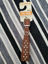 XS Dog Collar, Brown Silver Studded