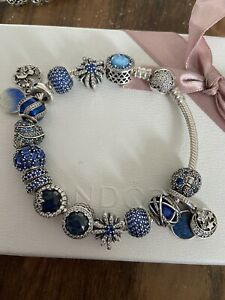 Pandora Bracelet With Blue Theme Charms