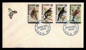 DR WHO 1969 HAITI FDC BIRD SPACE APOLLO 11 OVPT COMBO  f95133