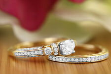 1.5 Ct Diamond Engagement Ring Wedding Band Bridal Set In 14k Yellow Gold Over