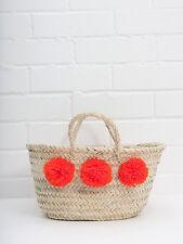 Orange Small Pom Pom Mini French Market Beach Basket Tote Shopper Straw Bag