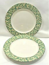 Sango Pavillion Dinner Plates x2 Green Tan Scrolls
