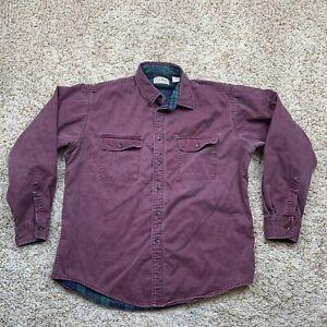 VTG LL Bean Shirt Mens Size Large Flannel Lined Hurricane Denim Made in USA