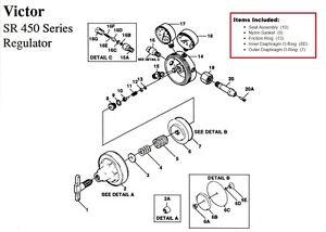 Victor SR450D Oxygen Regulator Rebuild/Repair Parts Kit 0790-0102