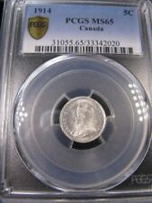**1914**,PCGS Graded Canadian, Small Silver 5 Cent, **MS-65**