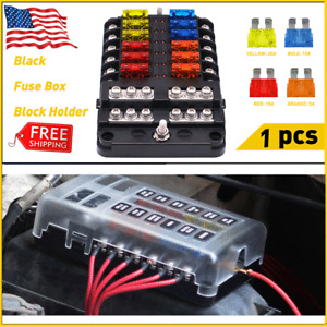 New Listing12-Way Fuse Box Block Holder W/Cover Led Indicator Light For 12V Car Auto Boat
