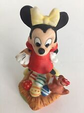 RARE Minnie Mouse with rooster Porcelain figurine Statue Walt Disney Productions